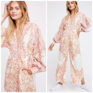 Free People Orange Paisley Jumpsuit romper XS